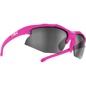 Bliz Hybrid M12 Smallface Glasses rubber neon pink/smoke with silver mirror